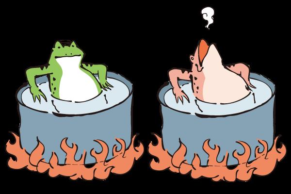 ゆでガエル現象とは、大きな環境変化は気づきやすいが小さな環境変化は認識することが難しいということを表すたとえ話…
